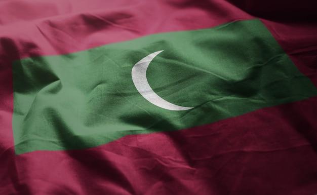Maldivas bandeira amarrotada close up