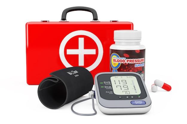 Maleta médica, garrafa de plástico com pílulas de suporte de pressão arterial e monitor digital de pressão arterial com manguito em um fundo branco. renderização 3d
