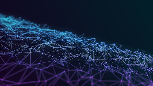 Malha de conexão de pontos e linhas em fundo futurista azul escuro. ilustração do conceito de tecnologia espacial com renderização de cristais poligonais, padrão low poly