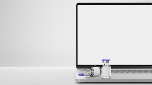 Malha de vacinas de tela em branco para laptop, espaço de cópia de coronavírus em fundo branco, renderização em 3d