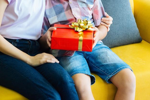 Mamãe está sentada e abraçando seu filho. nas mãos do filho carregando uma caixa de presente vermelha.