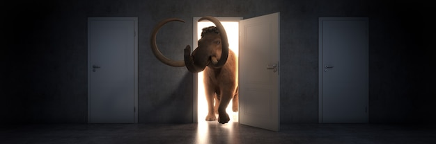 Mammoth entra em uma renderização 3d de porta aberta