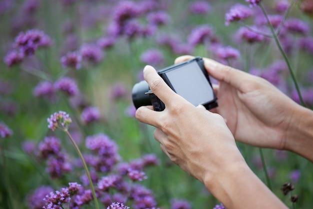 Man mão tirando foto com câmera compacta no jardim de flores