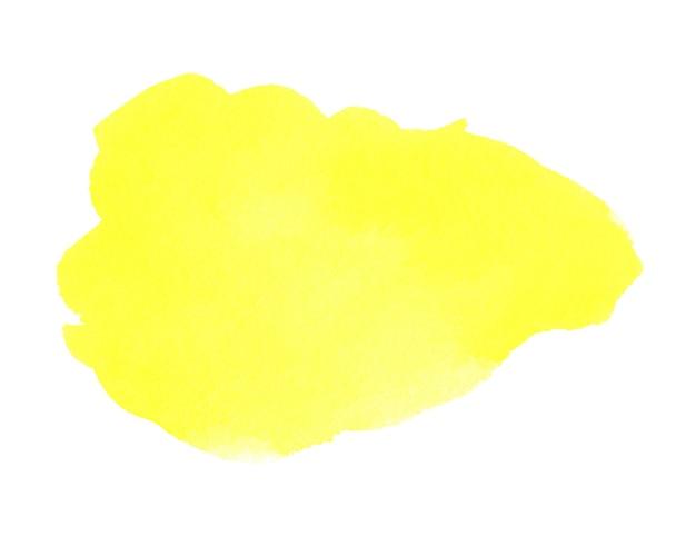 Mancha amarela desenhada à mão em aquarela na textura de grão de papel branco cor de água abstrato pincel pintura artística fundo respingo