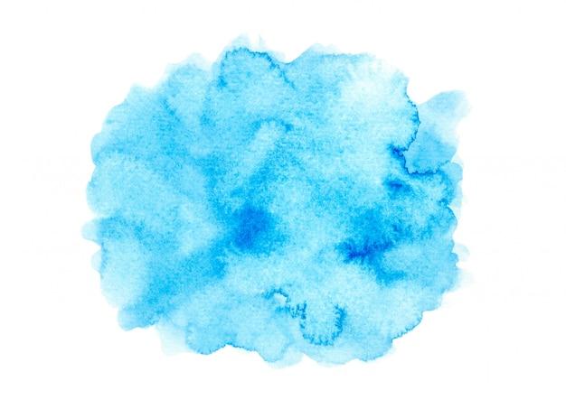 Mancha azul aquarela com tons de cor pintar o plano de fundo