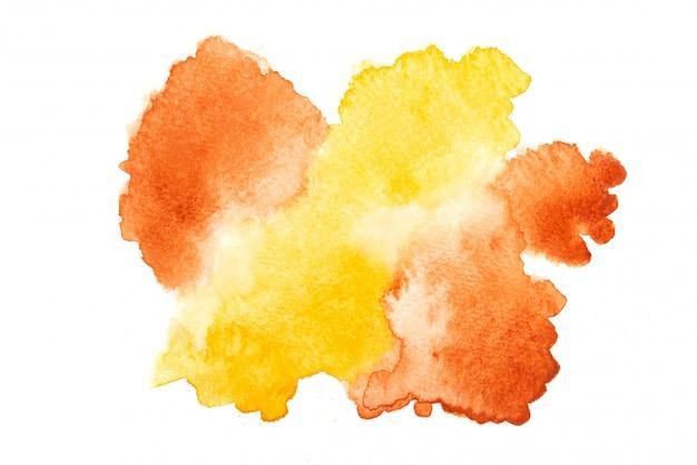 Mancha de aquarela marrom e amarela com traços de tinta de tons coloridos