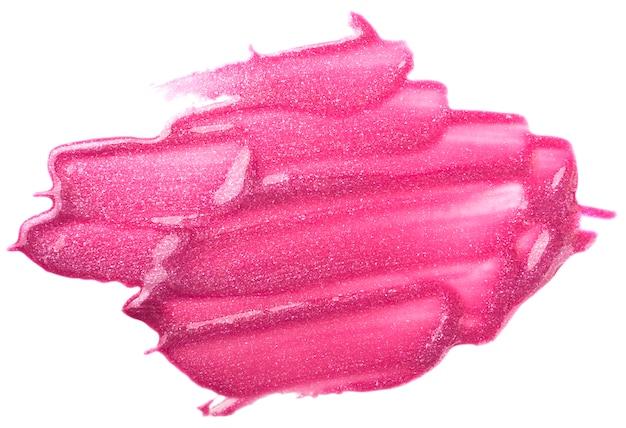 Mancha de brilho labial rosa