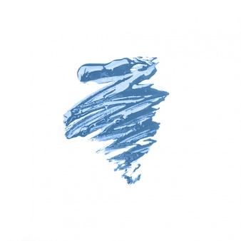 Mancha de tinta acrílica azul sobre fundo branco isolado