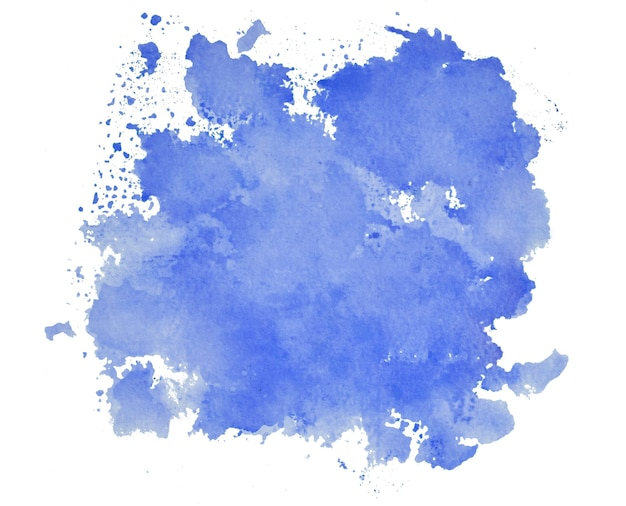 Mancha de tinta azul isolada em fundo branco