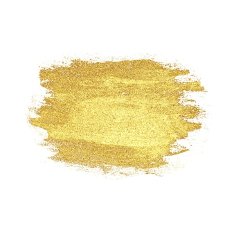 Mancha dourada de luxo desenhada de mão abstrata, isolada no fundo branco. textura de metal dourada. conceito de casamento, feriado, aniversário, natal.
