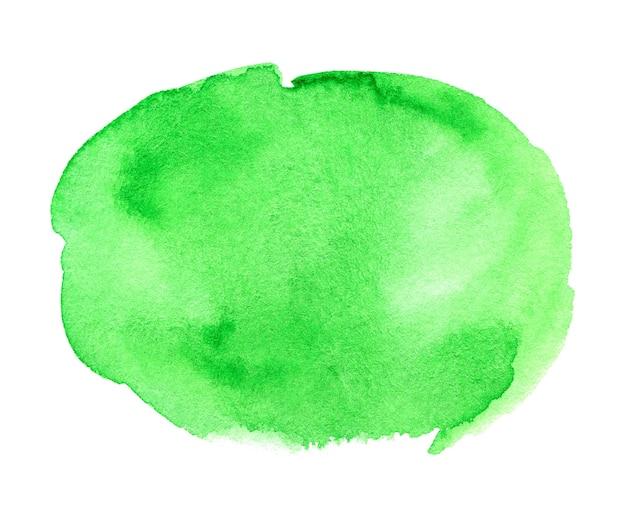 Mancha verde desenhada à mão em aquarela na textura de grão de papel branco cor de água abstrato pincel pintura artística fundo respingo
