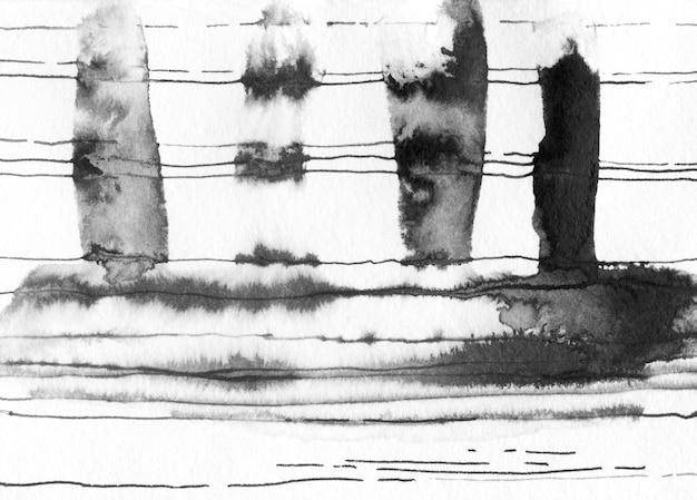 Manchas abstratas de tinta, linhas.
