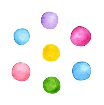 Manchas coloridas de tinta redonda em aquarela definem pontos desiguais ilustração elementos de design texto fundo
