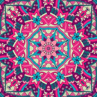 Mandala de padrão sem emenda de vetor de arte festival.