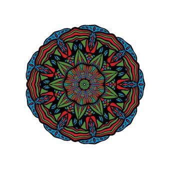 Mandala floral desenhada à mão com motivo turco ornamento floral colorido redondo no tradicional oriental