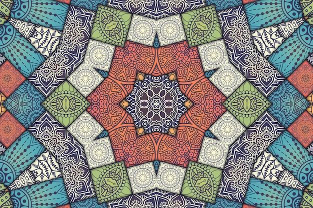 Mandala telha padrão floral, imagem geométrica de azulejos pintados, padrão árabe de estilo marroquino.