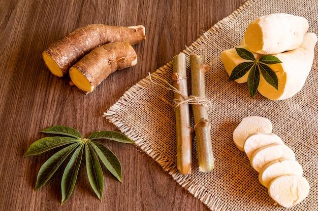 Mandioca, também chamada mandioca, mandioca, balinghoy, mogo, mandioca, kamoteng kahoy, tapioca e raiz de mandioca, um arbusto lenhoso da família euphorbiaceae, nativo da américa do sul.