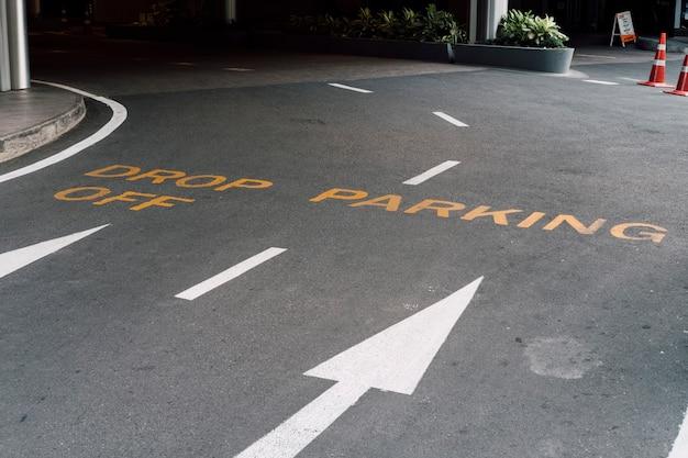 Maneira de deixar cair e sinal de estacionamento