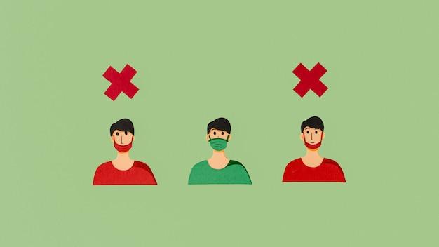 Maneiras erradas de usar máscara facial