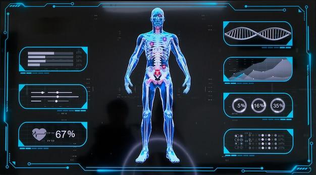 Manequim digital, tela de esqueleto humano