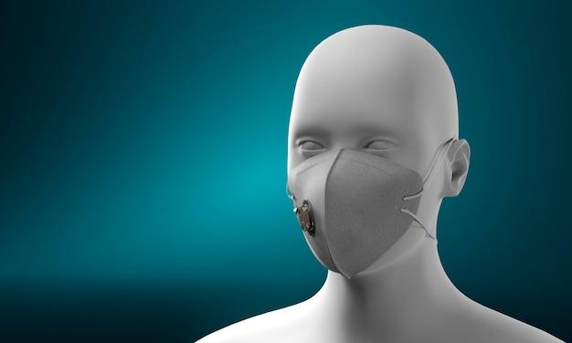 Manequim usando máscara médica para proteção