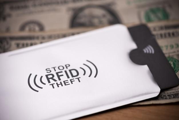 Manga de proteção rfid para cartão de crédito seguro contra ataques de hackers em notas de dinheiro