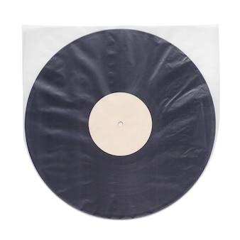 Manga interna de plástico transparente antiestático com disco lp de vinil isolado no fundo branco