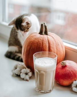 Manhã com uma xícara de café com abóbora e gato sentado no parapeito da janela