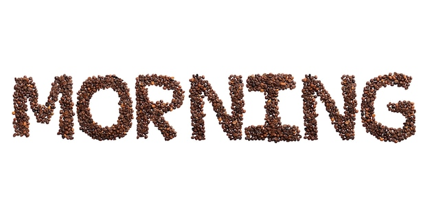 Manhã de inscrição do alfabeto inglês de grãos de cacau torrados. padrão de café feito de grãos de café. conceito de cultura do café. sinal de uma foto do grão de cacau real