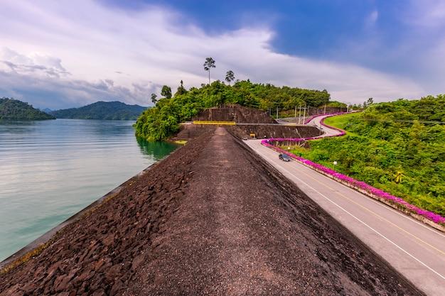 Manhã, luz, noite, luz, em, ratchaprapha, represa, surat thani, província, tailandia