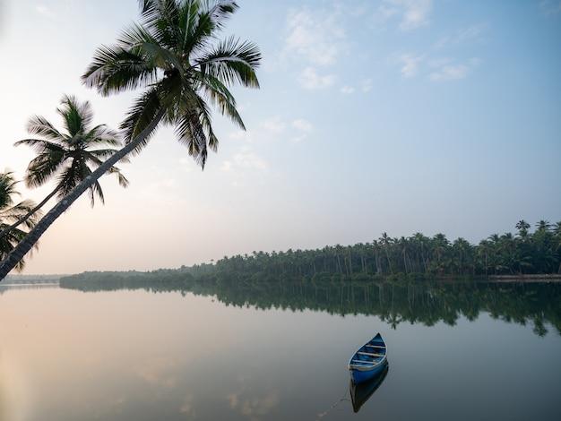 Manhã tranquila com vista de barco no rio e coqueiros