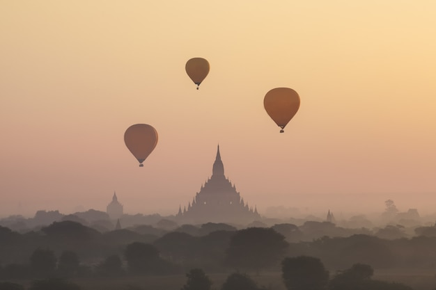 Manhã, vista, em, bagan, myanmar