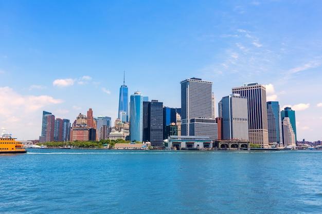 Manhattan, nova iorque, skyline, de, baía ny, em, eua