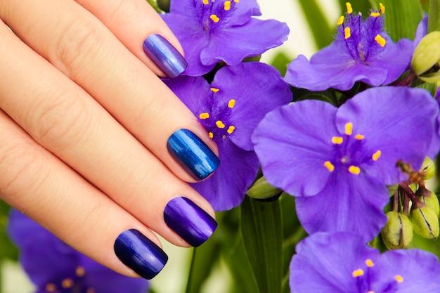 Manicure azul colorida com design na mão feminina close-up.