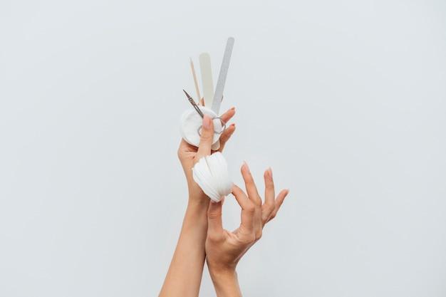Manicure limas de cuidados saudáveis e almofadas de algodão