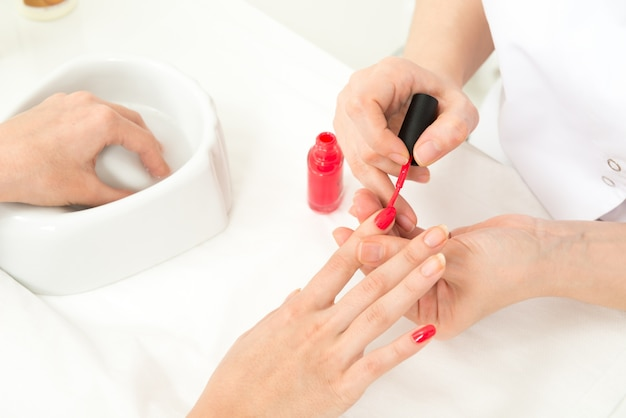 Manicure process closeup