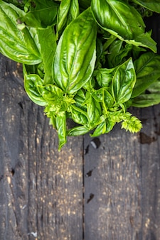 Manjericão fresco suculento pétalas verdes temperos aromáticos porção fresca crua pronta para comer refeição lanche