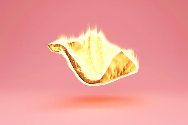 Manta flutuante em fire flame on pink bakground