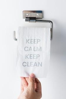 Mantenha a calma e mantenha-se limpo durante a pandemia global covid-19