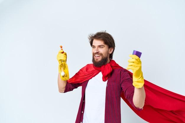 Manto vermelho limpo, limpeza, higiene, estilo de vida profissional