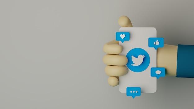 Mão 3d segurando o telefone móvel com o logotipo do twitter renderizado fundo para o conceito de marketing