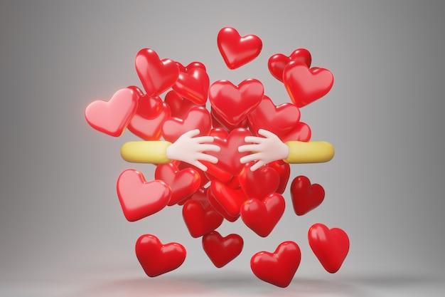 Mão abraçando o coração vermelho. abraçando o símbolo do amor, mão do personagem de desenho animado, renderização em 3d