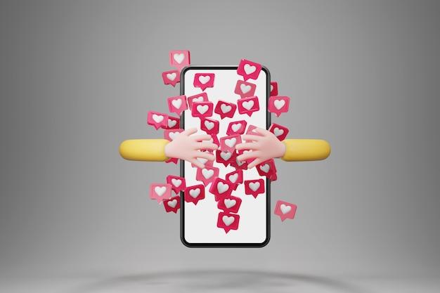Mão abraçando o smartphone com notificações de ícones de amor voando por aí. mão do personagem de desenho animado, conceito de mídia social, renderização em 3d