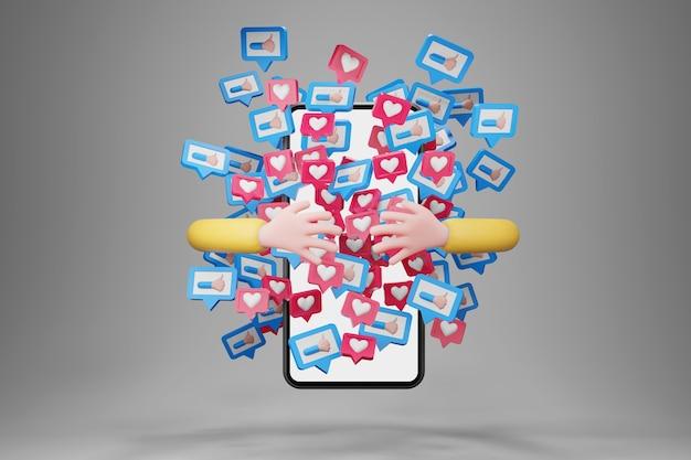 Mão abraçando o smartphone com notificações de ícones sociais voando por aí. mão do personagem de desenho animado, conceito de mídia social, renderização em 3d