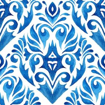 Mão abstrata desenhada aquarela telha sem costura padrão ornamental. design floral damasco