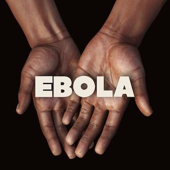 Mão africana com texto ebola