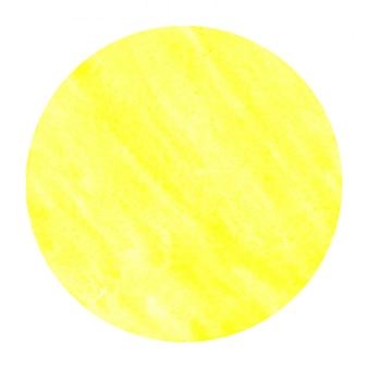 Mão amarela quente desenhado círculo aquarela