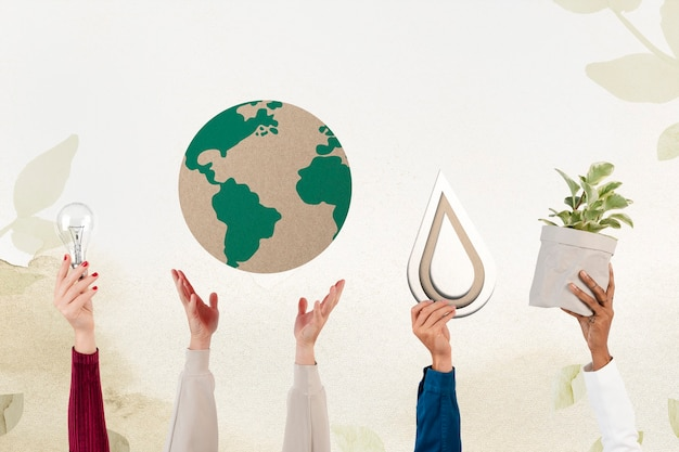 Mão apresentando remix de ambiente sustentável da terra