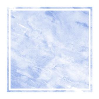 Mão azul desenhado em aquarela moldura retangular textura de fundo com manchas