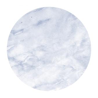 Mão azul escuro desenhada textura de quadro circular aquarela com manchas
